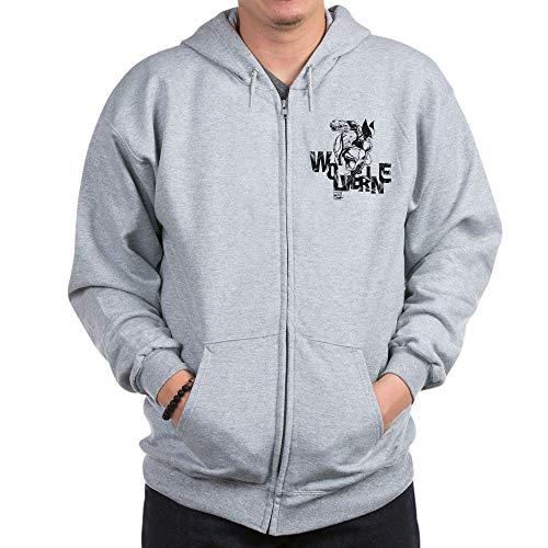 CafePress Wolverine Zip Hoodie, Classic Hooded Sweatshirt with Metal Zipper Heather Grey