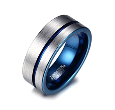 8mm Mens Blue Tungsten Wedding Band Ring Comfort Fit Flat Domed Brushed