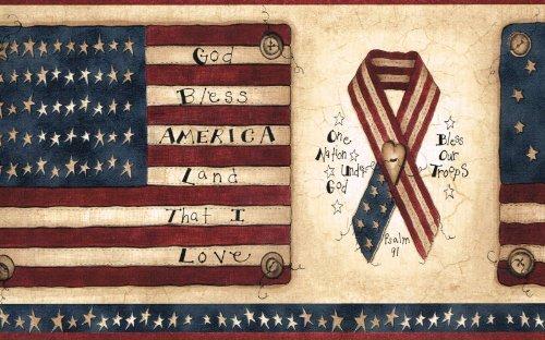 Flags and Ribbons Americana Wallpaper Border