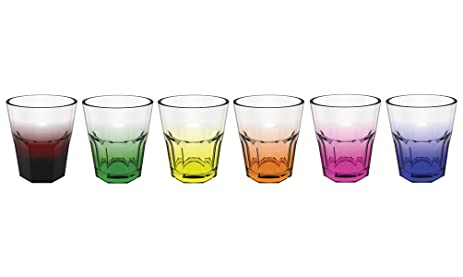 Stallion Barware Whiskey Glasses Vintage   Rainbow   Set Of 6   Unbreakable  (Polycarbonate)