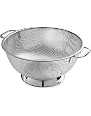 Stainless Steel Microporous 3 Quart Colander-professional Filter with Heavy-duty Handle and Self-draining Solid Ring Base-dishwasher Safe