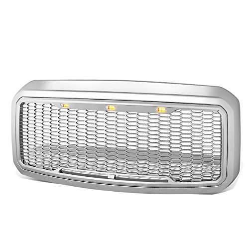 For Ford Super Duty Chrome Honeycomb Mesh Front Bumper Grille w/Shell+LED - Shell Chrome Grill