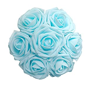 J-Rijzen Artificial Flowers 50pcs Real Touch Light Blue Fake Roses with Stem for Baby Shower Floral Bridal Shower Centerpieces Wedding Bouquet Home Decorations (Light Blue) 2