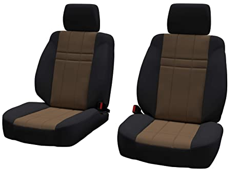 ShearComfort Custom Neoprene-Style Seat Covers for Toyota Tacoma Front Seats in Black w//Blue for Buckets w//Adjustable Headrests 2016-2019