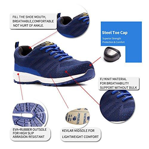 Image of JACKBAGGIO Men's Athletic Flyknit Lightweight Steel Toe Walking Safety Sneakers 8828