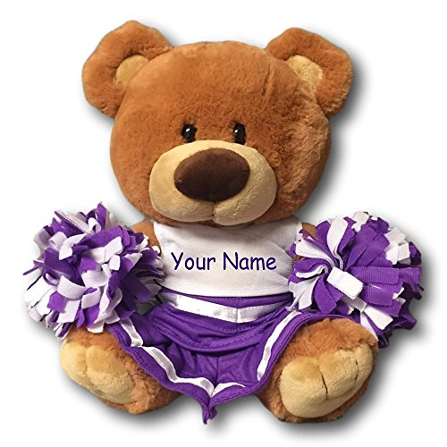 (Personalized Fiesta Toys Signature Cheerleader Teddy Bear Brown With Purple Uniform- 9 Inches)