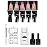 10 Pack Gel Nail Extension Set, Pawaca Professional All-in-One Poly Gel Nail Art Kit with 5 Pack of 15ml Quick Building Gel, 100 Pcs Nail Tips Mold, UV Gel Pen, Base Coat Top Coat & 160ml Mild Remover