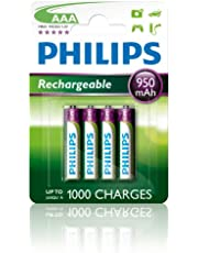 Philips 1000mAh, MultiLife Rechargeable Battery, AAA, Green, 4 Count