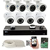 16 Channel H.265 4K NVR 5MP (2592 x 1920) Network PoE Security Camera System - 5MP 1920p Weatherproof 4 Bullet & 4 Dome IP Cameras w/ 2TB Hard Drive