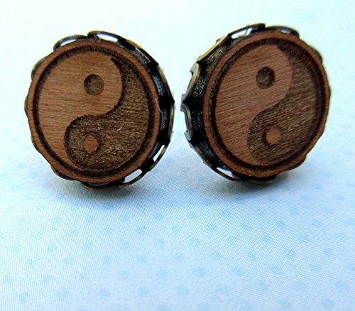 Antiqued Gold-tone Yin Yang Wood Stud Earrings 12mm