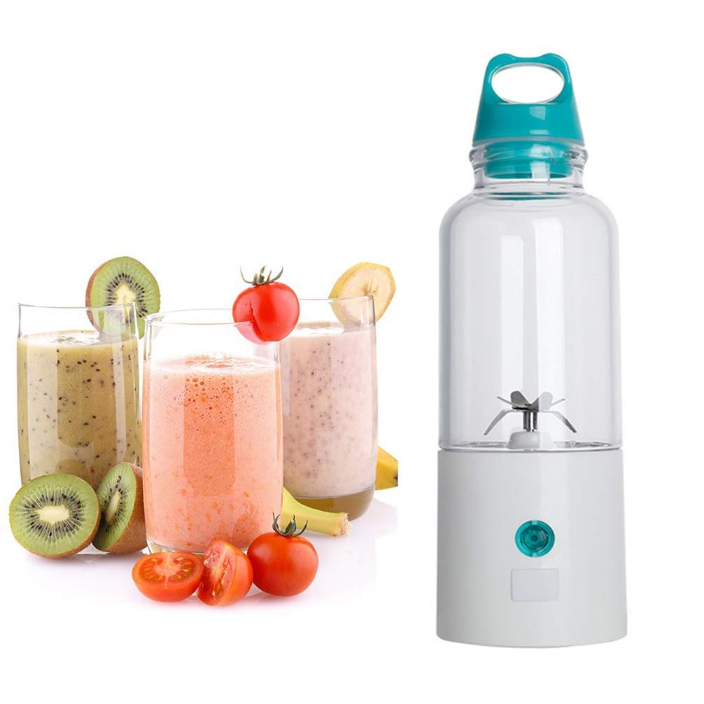 Fruit Juicer,500ml USB Electric Personal Blender for Baby Food Vegetables and Fruit Portable Rechargeable Smoothie Maker Bottle Cup /8000 mAh (Can Charge Your Phone),Blue