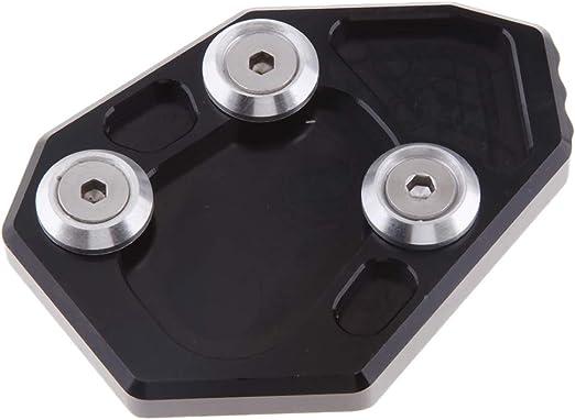 Noir perfk Rallonge de B/équille Sidestand Extender Plaque Pad pour BMW F800R 2009-2014