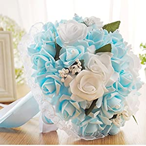 Wedding Bouquet,YJYDADA Crystal Roses Bridesmaid Wedding Bouquet Bridal Artificial Silk Flowers (Blue) 27