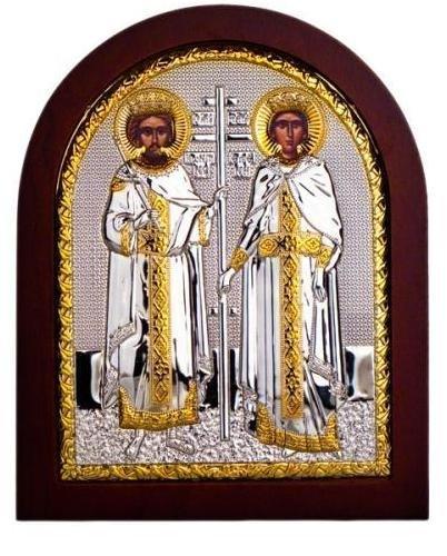 (St. Constantine & St. Helen Sterling Silver Plated Medium (19cm X 16cm) Israel)