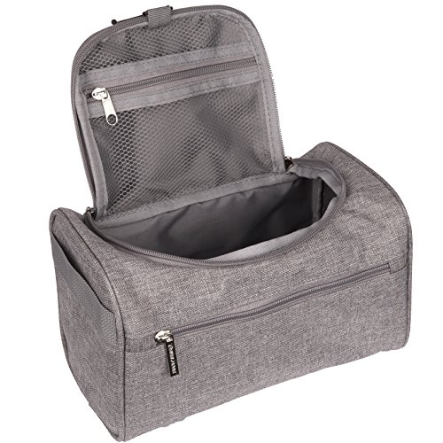 TravelMore Hanging Travel Toiletry Bag Organizer & Bathroom Hygiene Dopp Kit with Hook for Traveling Accessories Toiletries Bathroom Shaving & Makeup for Men and Woman - Gray