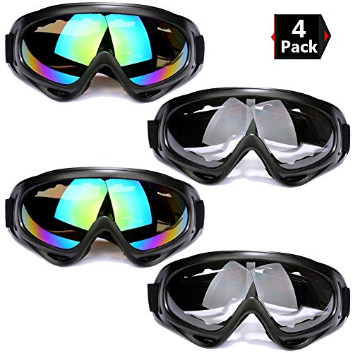 Peicees 4 Pack Ski Goggles Winter Snowboard Adjustable UV 400 Protective Motorcycle Snow Goggles Outdoor Sports Tactical Glasses Dustproof Military Sunglasses for Kids Boys Girls Youth Men - Tour Mens Ski