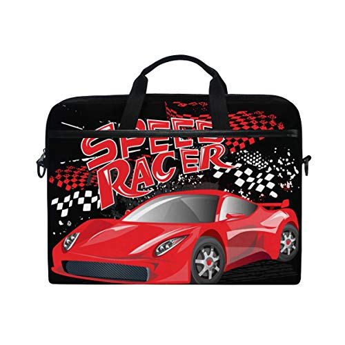 (PENGTU 15-15.4 Inch Laptop Bag Speed Racer Poster Red Sport Car Shoulder Messenger Bags Sleeve Case Tablet Briefcase with Handle Strap)