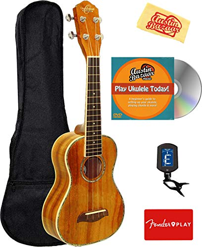 Oscar Schmidt OU5 Koa Concert Ukulele Bundle with Gig Bag, Tuner, Fender Play Online Lessons, Austin Bazaar Instructional DVD, and Polishing Cloth