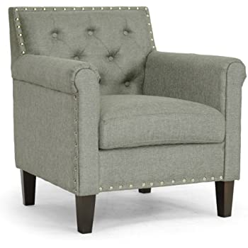 Baxton Studio Thalassa Linen Modern Arm Chair, Gray