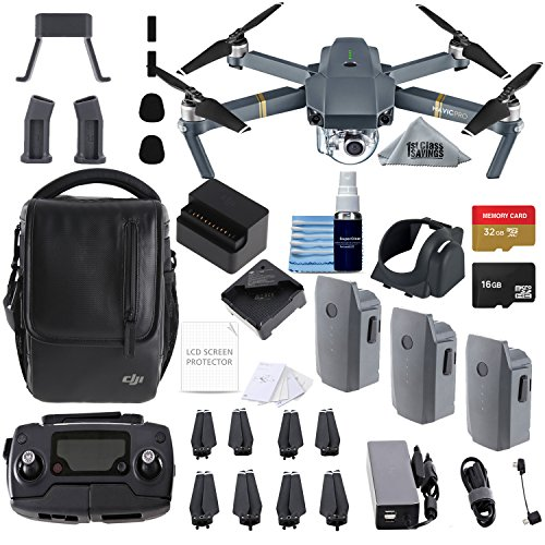 DJI Mavic Pro Fly More Combo Collapsible Quadcopter 3 Batteries, 2 Memory Cards, Charging Hub + flymore Starter Bundle from 1stClassSavings