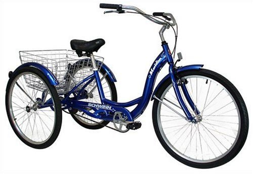 Schwinn Meridian Full Size Adult Tricycle 26 wheel size Bike Trike, blue: best bike for overweight female