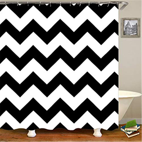 hipaopao Chevron Zig Zag Stripes Fabric Shower Curtain Sets Bathroom Decor with Hooks Waterproof Washable 72 x 72 inches Black White