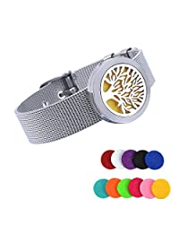 HooAMI Aromatherapy Essential Oils Diffuser Locket Bracelet Bangle with 11 Color Pads