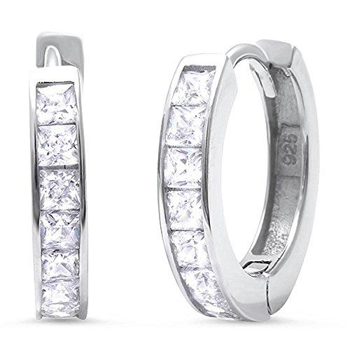 Hooop Earrings (14mm Hooop Huggies Earrings Half Eternity Princess Cut Clear White CZ 925 Sterling Silver)