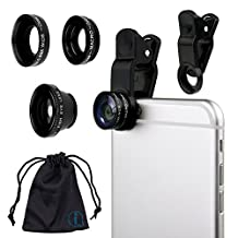 Black Clip On 180 Degrees Portable 3 in 1 Camera Lens Kit - FishEye - Wide Angle - Macro for Samsung Galaxy S5 neo SM-G850