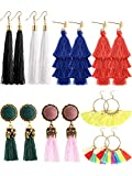 Tatuo 8 Pairs Tassel Earrings Thread Tassel Dangle Earrings Tiered Dangle Earrings Fringe Drop for Women Girls, 4 Styles and 8 Colors