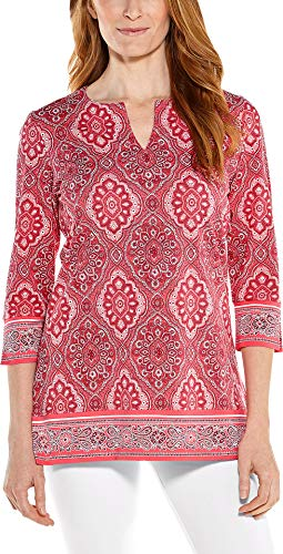 (Coolibar UPF 50+ Women's St. Lucia Tunic Top - Sun Protective (Large- Sunset Coral Boardwalk)