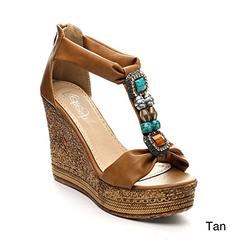 Refresh Grita-05 Womens Beaded Platform T-Strap Cork Wedge Heel Sandal,Tan,10