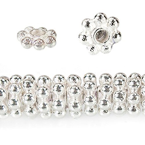Silver Daisy Beads Spacer Sterling - 4mm Sterling Silver Daisy Spacer Beads 76 beads 4 inch