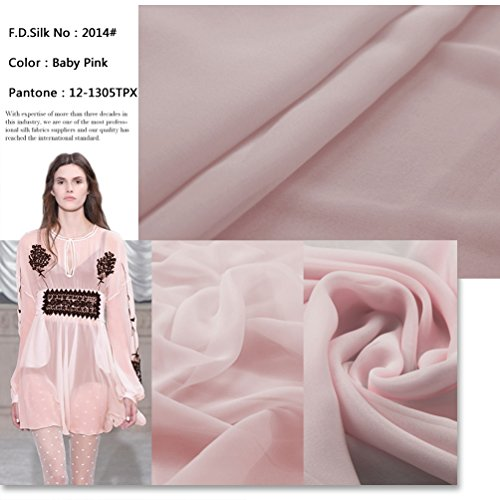 F.d.silk Baby Pink 100% Pure Silk Chiffon Fabric By the Yard, 48 Colors, Baby Pink Ch-014