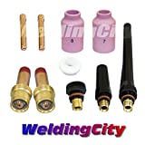 WeldingCity TIG Welding Gas Lens Accessory Kit (1/16'') Cup-Collet-Gas Lens-Gasket-Back Cap for Torch 17/18/26 T13