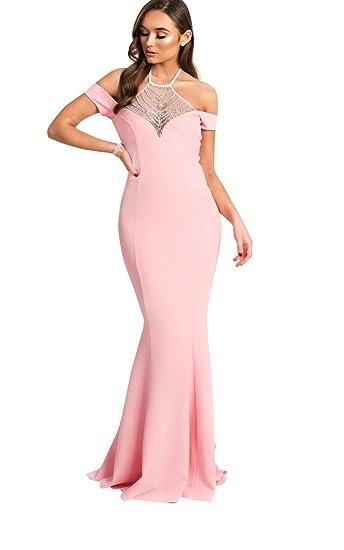 c24f1d686c4 Ikrush Womens Arabella Fishtail Embellished Maxi Dress Pink  Amazon.co.uk   Clothing