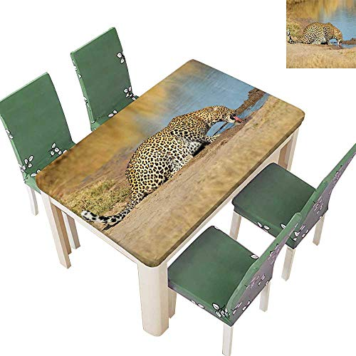 Printed Fabric Tablecloth Leopard Panther Dr k W erhole Wild Sout African Documentary Light Washable Polyester 52 x 108 Inch (Elastic - Fabric Sout
