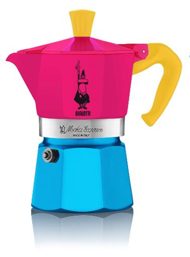 Bialetti: Moka Express Special Edition 2015, 3-Cups (Fuchsia with Blue Bottom, Handle and Knob in Yellow) [ Italian Import ]