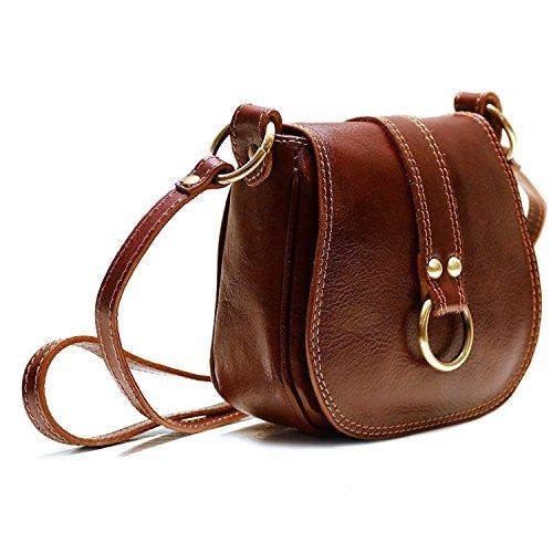 Calfskin Purse Bag - Floto Women's Saddle Bag in Brown Italian Calfskin Leather - handbag shoulder bag