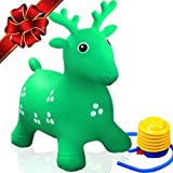 FLASH SALE   Inflatable Bouncy Deer - Animal Hopper Ride-on Seat – Best Gift for Toddlers Age 1, 2, 3, 4 Year Old Boys and Girls Indoor/Outdoor + Free Foot Pump