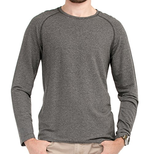 LNBF Men's Apparel Viscose from Bamboo Raglan Long Sleeve Tee (S, Dark Grey) (Bamboo Raglan)