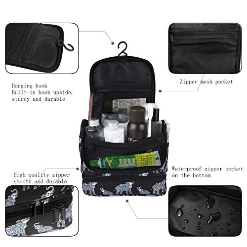 Toiletry Bag Hanging Waterproof Toiletry Organizer Case with Hook and handle Travel Makeup Cosmetic Bag for Women, Compact Bathroom Storage, Home, Gym, Airplane, Hotel(Elephant) by ArmoFit (Image #3)