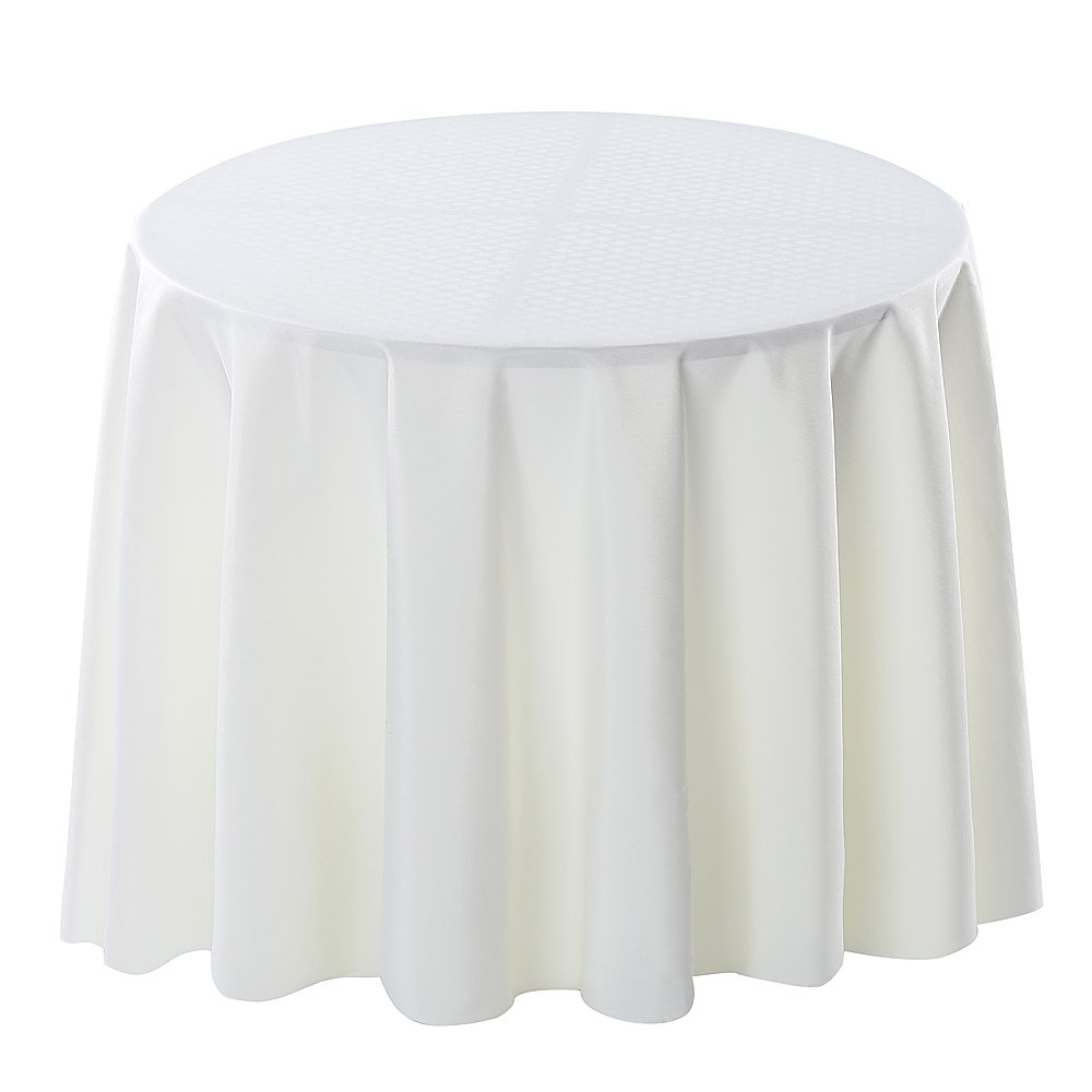 Surmente Tablecloth 120 Inch Round Polyester Tablecloth for Weddings, Banquets, or Restaurants (Ivory)