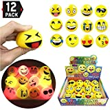 Liberty Imports Set of 12 LED Flashing Emoji Face Squeeze Bouncy Balls (2 inches) - Stress Relief Rubber Toys for Kids and Adults, Party Favor