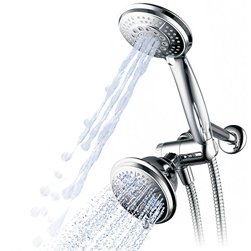 Hydroluxe 1433 Handheld Showerhead & Rain Shower Combo. High Pressure 24 Function 4 Face Dual 2 in 1 Shower Head System with Stainless Steel Hose, Patented 3-way Water Diverter in All-Chrome Finish