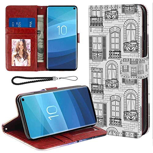 European Id Window - Wallet Case for Galaxy S10 (2019) 6.1-Inch for Women Case (Geometric Apartment Building Urban Architecture European Windows City Town Illustration Grey White Print)