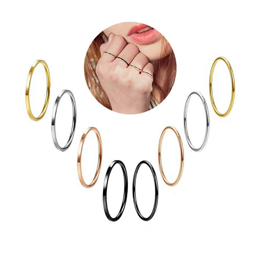 Fsmall 8 Pcs Multi-Color Titanium Steel Stackable Rings for Women Girls Thin Flated/Domed Plain Band Knuckle Stacking Midi Rings Comfort Fit (8)