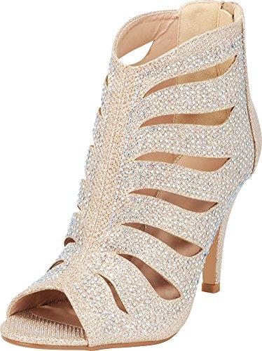 en's Open Toe Cutout Caged Glitter Crystal Rhinestone Stiletto High Heel Ankle Bootie,7 B(M) US,Champagne ()