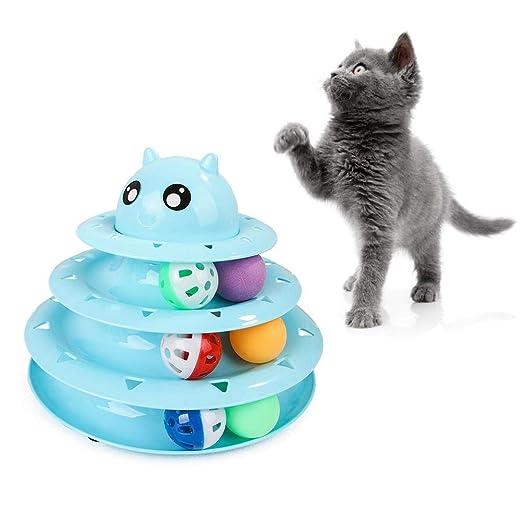 Binwe Cat Tower Toy, Pet Cat Tocadiscos de Tres Capas Puzzle Bell ...