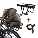 Outdoo 160 Lb Capacity Sturdy Rear Bike Rack Universal Adjustable Luggage Shelf with Triple Elastic Bike Strap
